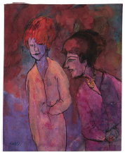 EMIL NOLDE Two Women, red-violet, 1938-1945