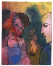 EMIL NOLDE Strange Couple and Figure in the Background 1938-1945
