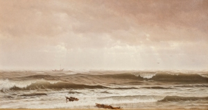 WILLIAM TROST RICHARDS Along the Shore, New Jersey, 1870 Oil on canvas 14 3/8 x 26 3/8 inches