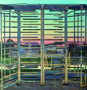 JOHN MOORE Turnstile, 2012 Oil on canvas  70 x 68 inches