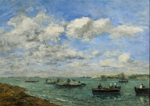 EUGENE BOUDIN Camaret, Pecheurs et Barques, 1869 Oil on canvas  18 3/8 x 25 3/8 inches