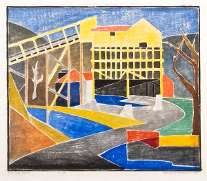 BLANCHE LAZZELL West Virginia Coal Works, 1959 Color woodcut on laid Japan paper