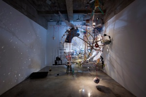 Sarah Sze 360 (Portable Planetarium) 2010 mixed media, wood, paper, string, jeans, rocks 162 x 136 x 185 inches; 411.5 x 345.4 x 469.9 cm Gallery Installation