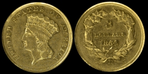 Rare 1854 Dollar coin The only three dollar gold coin struck at the Dahlonega Mint Courtesy of Mitchell A Battino AAA (Hudson Rare Coins, Inc.)