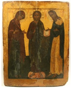 A RUSSIAN DEISIS ICON WITH THE VIRGIN MARY JOHN THE BAPTIST AND CHRIST  17th Century ​Courtesy Gene Shapiro, AAA​