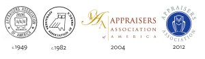 Appraisers Association of America's logo throughout the years