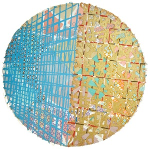 Alan Shields K.E.C. 1985-86 Watercolor, block printing, glitter, stitching on handmade paper 46 1/4 inches (117.5 cm) diameter