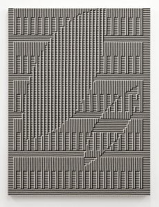 TAUBA AUERBACH Shadow Weave - Hole, Ghost I 2013 Woven canvas on wooden stretcher 60 x 45 inches 152.4 x 114.3 cm