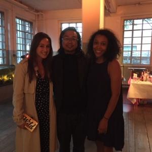 Jessica Hodin, Crowdfunding Manager with artist Rirkrit Tiravanija and Kickstarter's Victoria Rogers in Basel