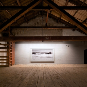 Clifford Ross Hurricane LII, 2015 (Installation view Mass MoCA) Archival Pigment Print 73 x 128 inches framed Courtesy of Clifford Ross Studio Photo: Arthur Evans