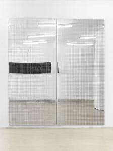 DEAN LEVIN Surface Support (ISO), 2015 UV curable ink on mirror polished steel and accompanying drawing Diptych, each panel: 93 x 45 inches 177.8 x 101.6 cm Courtesy of the artist and Marianne Boesky Gallery, New York