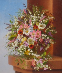 Adelheid Dietrich (1827-1891) Spring Bouquet, 1875 Oil on canvas, 13 ½ x 11 ½ inches Signed lower right: Adelheid Dietrich / 1875