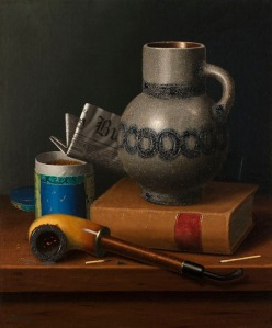 William Michael Harnett (1848-1892) Still Life with Book, Jug, Pipe, Tobacco and Matches with a Newspaper, 1878 Oil on canvas, 18 x 15 in. Signed and dated lower left: Harnett / 1878 GODEL & CO
