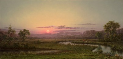 Martin Johnson Heade (1819-1904) Two Fishermen in the Marsh, at Sunset (New Jersey Marshes), c. 1876-1882 Oil on canvas, 15 ¼ x 30 1/8 in. Signed lower left: M. J. Heade