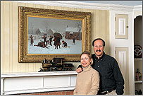 Melinda and Howard Godell at home beside a genre scene by S.S. Carr (1837–1908)