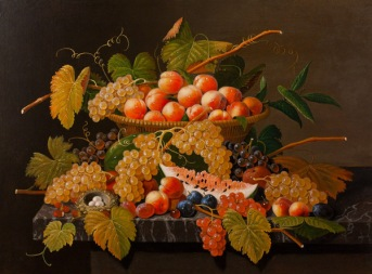 Severin Roesen (1817-1872) Still Life with Fruit and a Bird's Nest Oil on canvas 30 x 40 inches