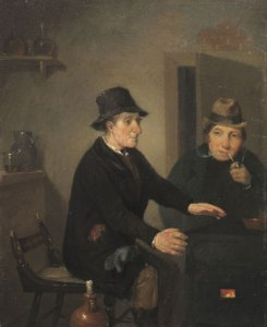 RICHARD CATON WOODVILLE (1825-1855) Scene in a Bar-Room, 1845 Oil on panel 8 1/2 x 6 3/4 inches