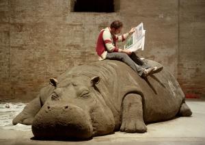 """ALLORA & CALZADILLA Hope Hippo, 2005 Mud, Whistle, Daily Newspaper, Reader. Installation View: """"Always a Little Further"""" 51st International Art Exhibition, la Bienal di Venezia Photo: Giorgio Boata"""