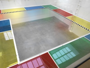 Daniel Buren A Perimeter for a Roomwork in situ, 2011 Clear acrylic sheets, coloured self-adhesive filters, wood, screws, steel cables, white paint, self-adhesive black vinyl Perimeter: 4800 cm / 1889 3/4 in. Depth: 150 cm / 59 in.