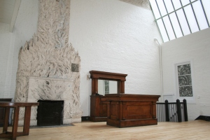 Fireplace in Gertrude Vanderbilt Whitney's studio sculpted by Robert Winthrop Chanler