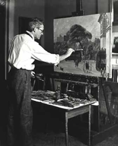 Photo Caption: John Sloan at work in his studio, ca. 1925 Smithsonian American Art Museum