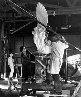Gertrude Vanderbilt Whitney working in the Eighth Street studio