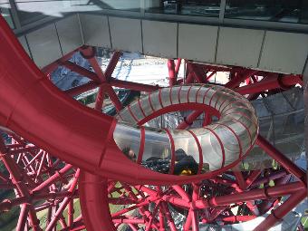 Carsten Höller's The Slide at the ArcelorMittal Orbit at Queen Elizabeth Olympic Park, London, UK.