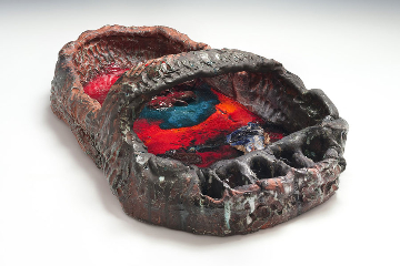 """""""Sterling Ruby"""" at The Winter Palace at the Belvedere, Vienna, Austria. Sandal (4828), 2014, ceramic, 11 × 20 × 35 1/2 inches (27.9 × 50.8 × 90.2 cm) © Sterling Ruby Studio. Photo by Robert Wedemeyer"""