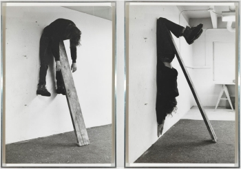 In the Studio: Photographs Curated by Peter Galassi CHARLES RAY Plank Piece I–II, 1973 Gelatin silver prints mounted on rag board, in two parts © Charles Ray. Photo by Rob McKeever