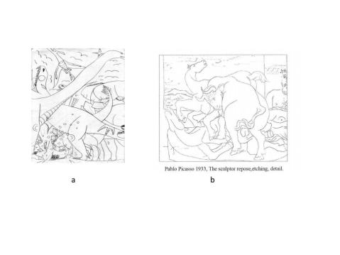Complex Layered drawing by Arkin (a) Drawing by the adult Picasso showing similar layering (b)