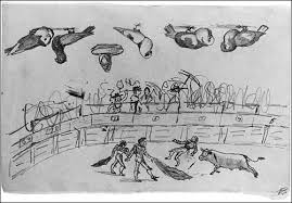 Pablo Picasso, age 9 Bullfight with pigeons