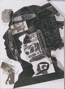 Ray Johnson Green Hornet with Arman and Andy Collage on illustration board