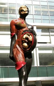 Damien Hirst 'The Virgin Mother' Lever House on Park Avenue. Photo Credit: Anthony Moore/Sipa Press