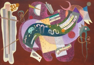 Wassily Kandinsky (1866-1944), Rigide et Courbé, 1935. Oil and sand on canvas. 44⅞ x 63⅞ in Estimate: $18,000,000-25,000,000.