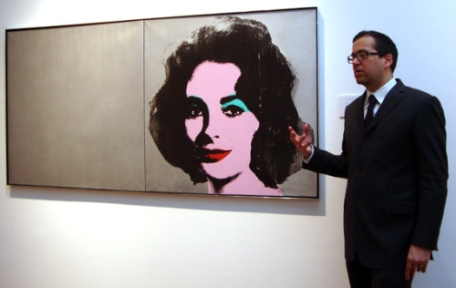 Robert Manley with Warhol's Silver Liz Looking Forward to the Past 11 May 2015, New York,